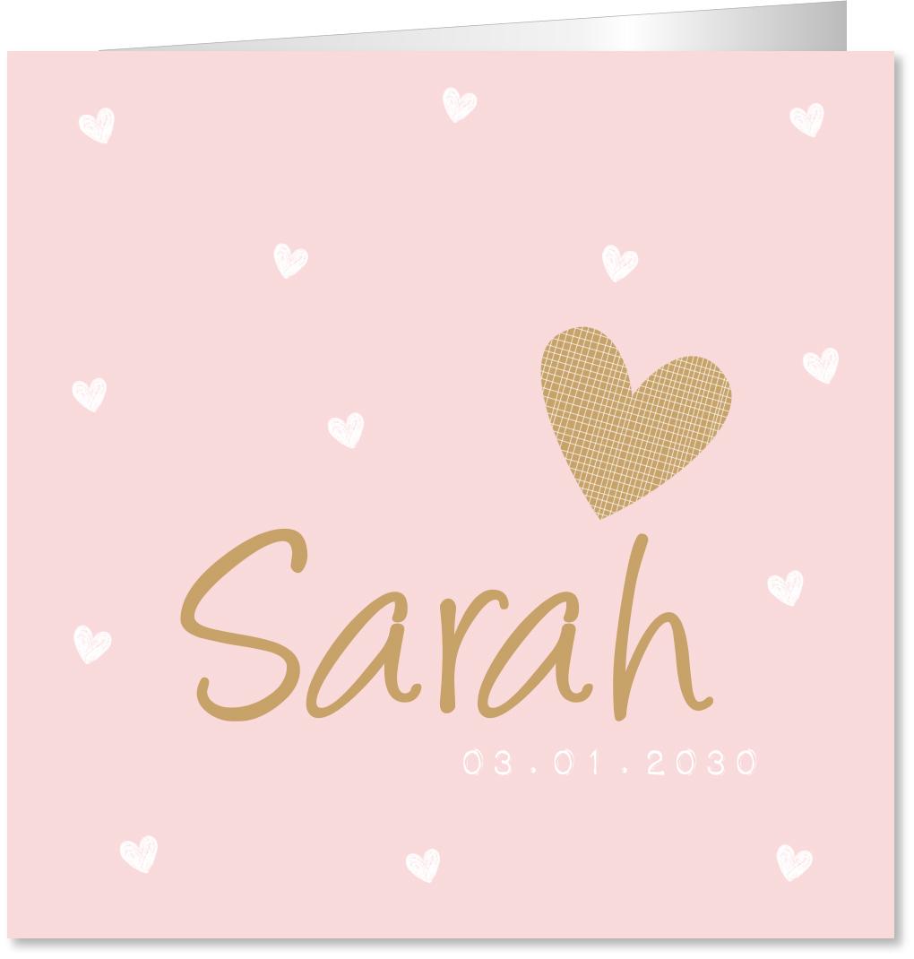 Geboortekaartje hartjes roze