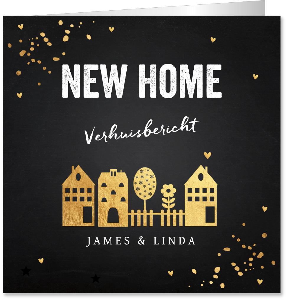 Verhuiskaart huisjes goudlook confetti