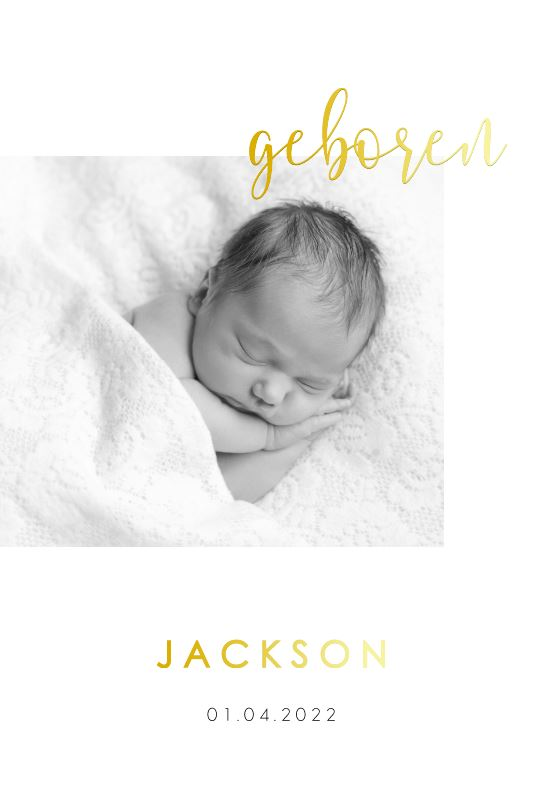 Goudfolie geboortekaartje zoon met foto en lief gedichtje