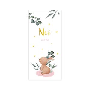 Trendy goudfolie geboortekaartje voor meisje met konijntje en takjes
