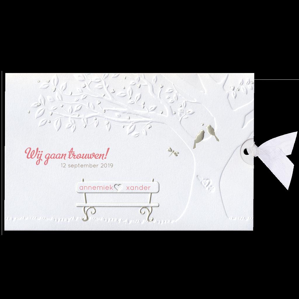 Romantisch trouwkaartje met boom I 727012