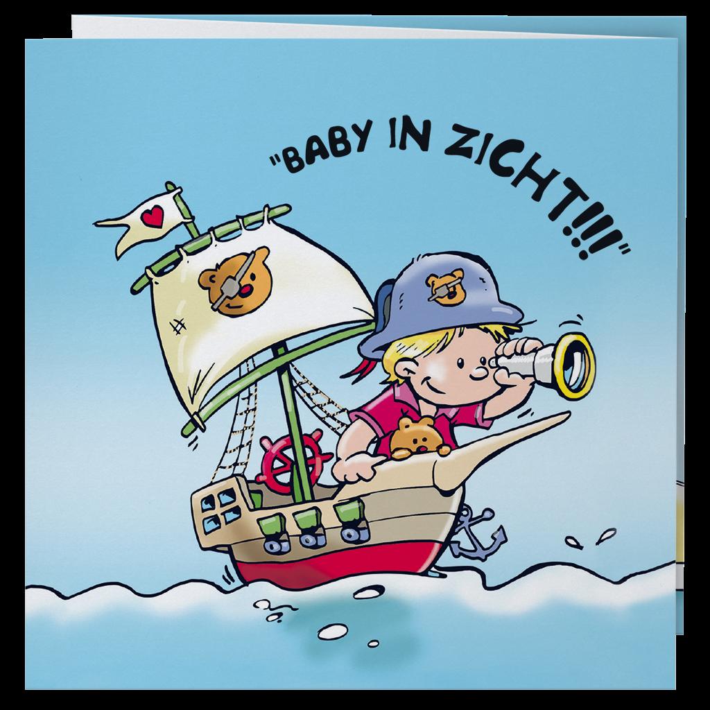 Leuk getekend geboortekaartje Belarto met piraat I 718041