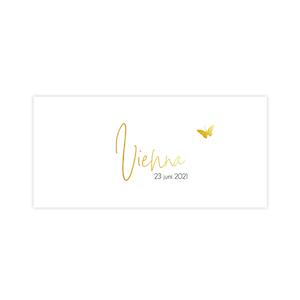 Lief geboortekaartje met goudfolie naam en gouden vlinder