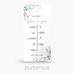 Trouwkaart zilverfoliefolie met tijdlijn en aquarel takjes