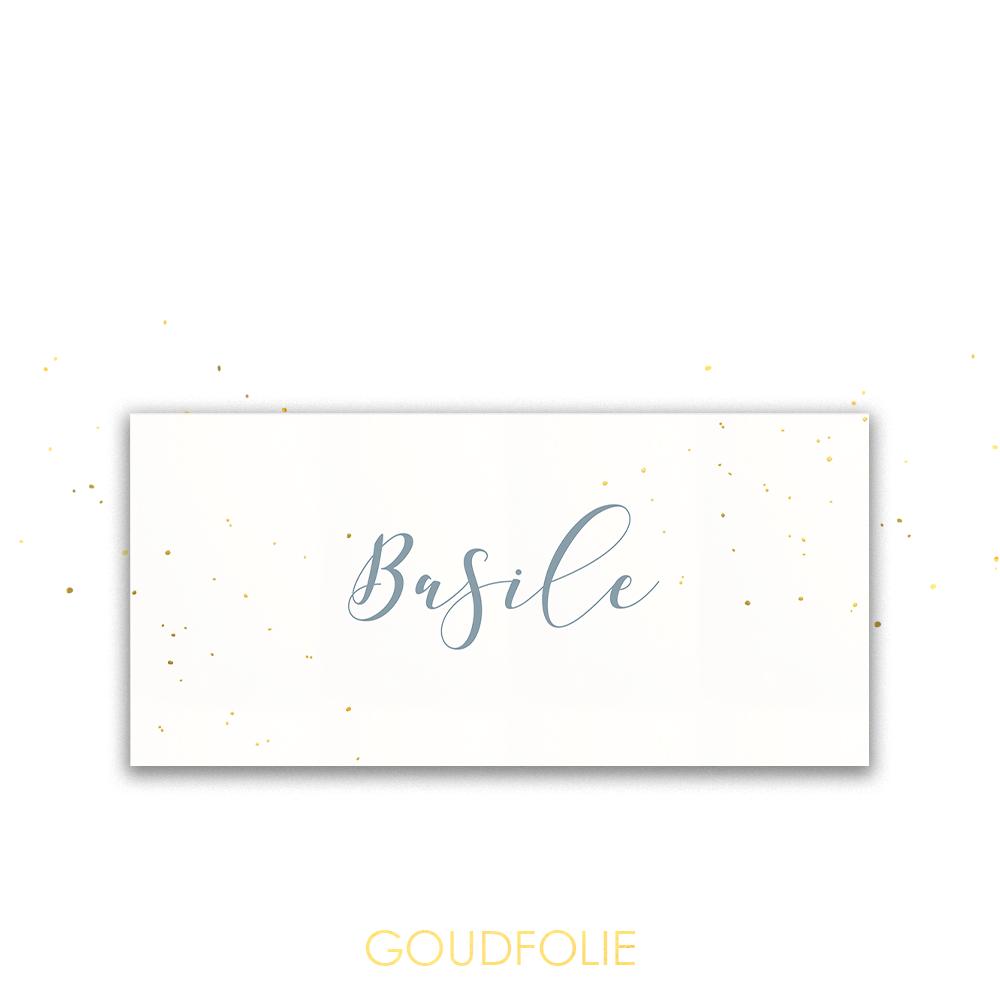 Goudfolie trendy geboortekaartje met goudspetters