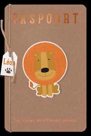 Paspoort babykaartje met leeuw