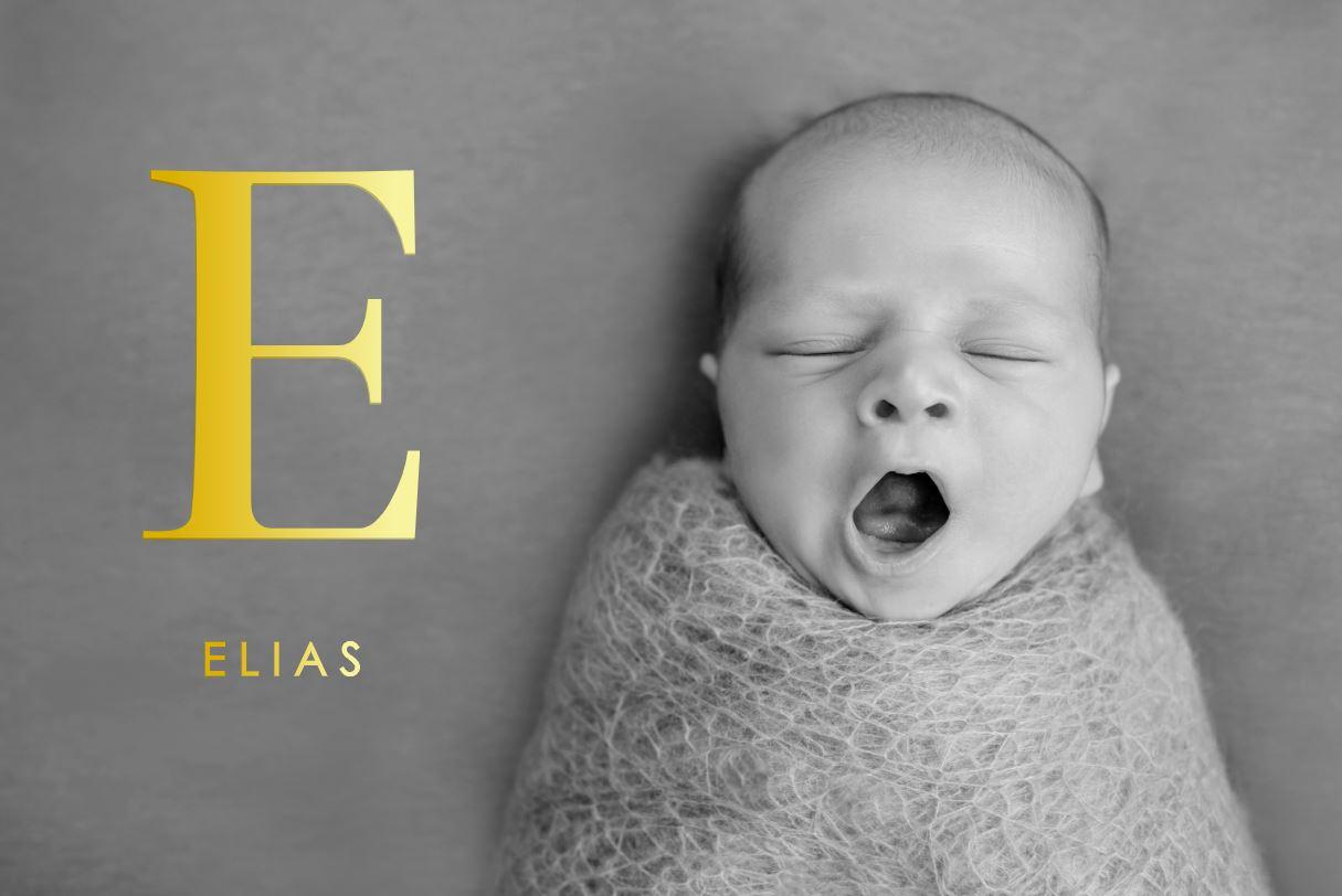 Goudfolie geboortekaartje jongen met foto