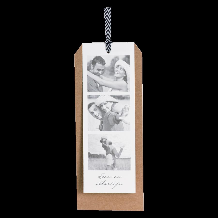 Trendy trouwkaart met fotostrip en kraft - Buromac 106138