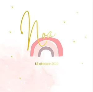 Goudfolie geboortekaartjes met regenboogje meisje