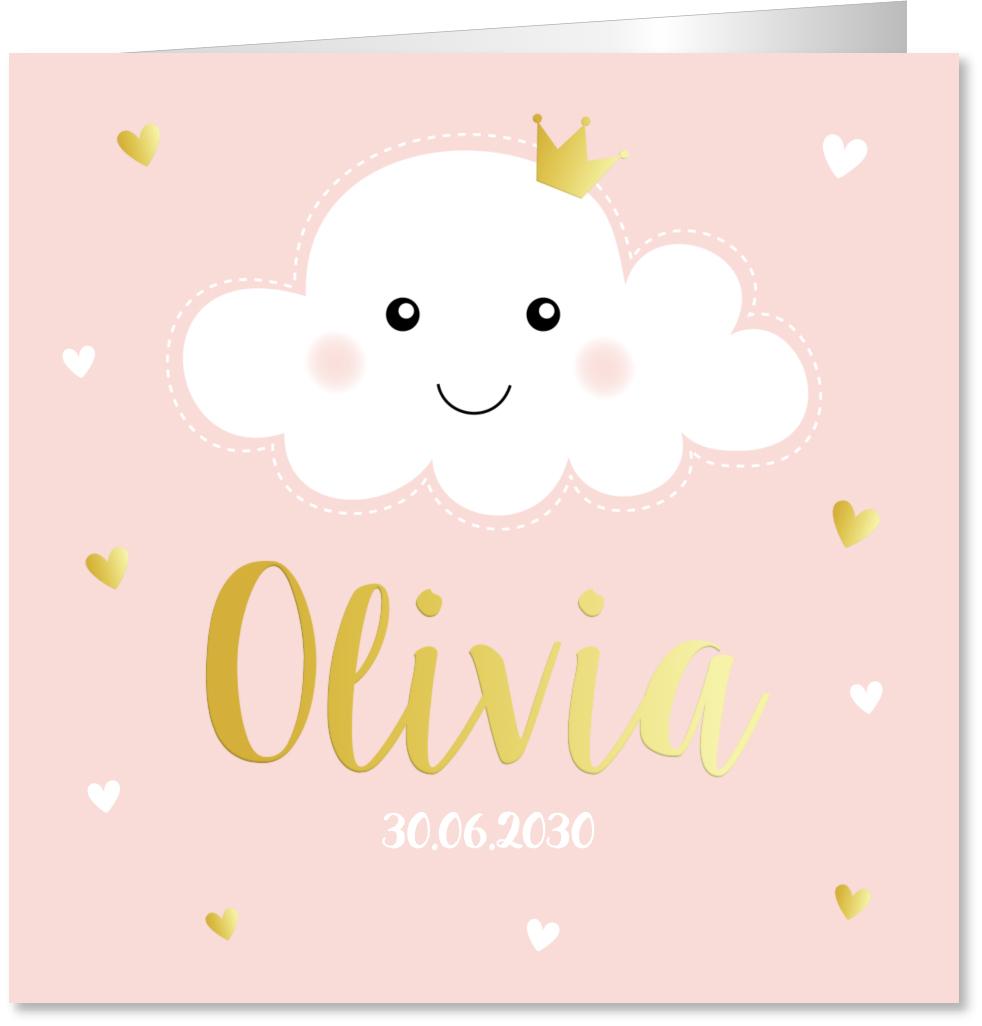 Geboortekaartje wolkje roze goudfolie
