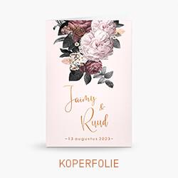 Trouwkaart koperfolie met rozen en bloemen
