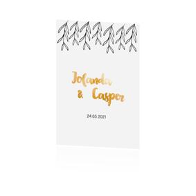 Goudfolie trouwkaart met zwart-wit ontwerp
