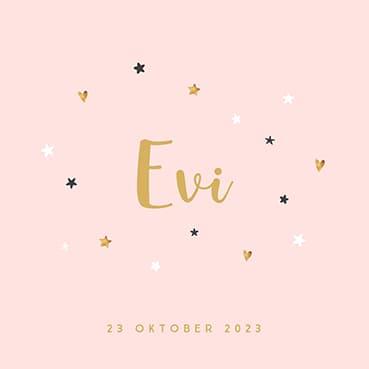 Geboortekaartje meisje in roze met hartjes en sterretjes