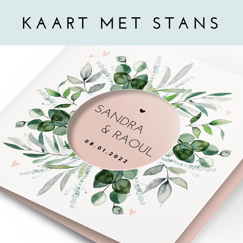 Botanische trouwkaart met krans en ronde uitsnede