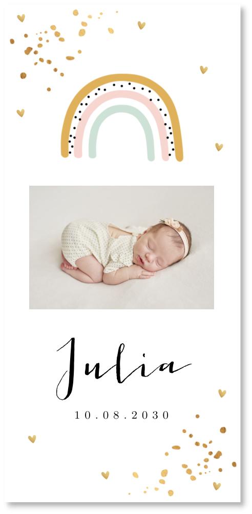 Geboortekaartje foto regenboog meisje