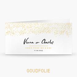 Trouwkaart met goudfolie confetti regen en tijdlijn