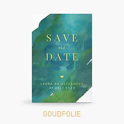 Goudfolie Save the date kaart met donkergroene watercolor