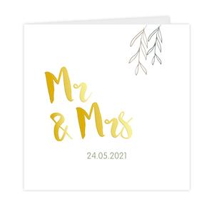 Mr en Mrs trouwkaart met takjes en goudfolie