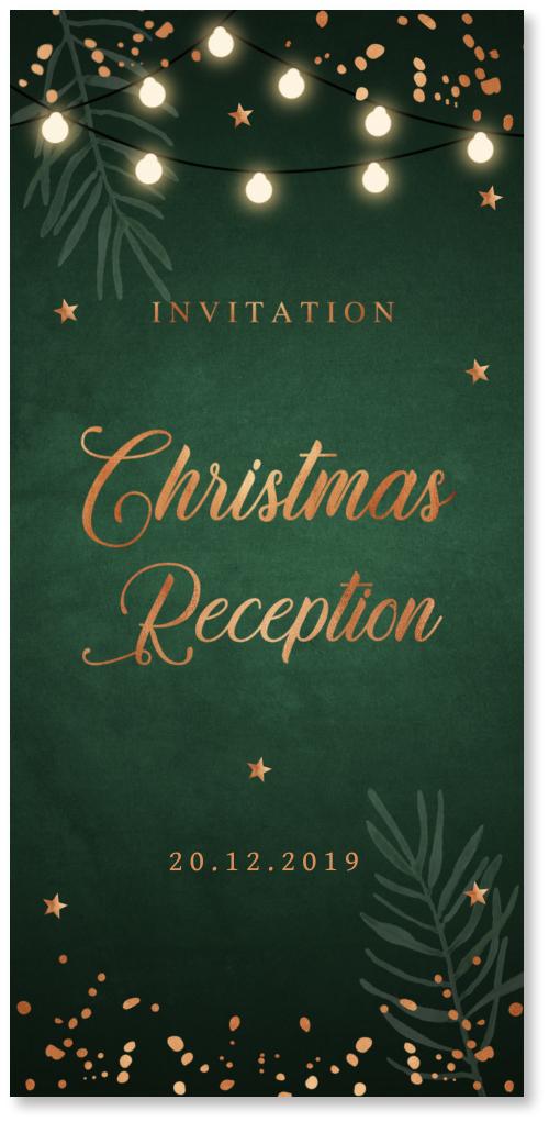 Kerstborrel uitnodiging groen lampjes confetti