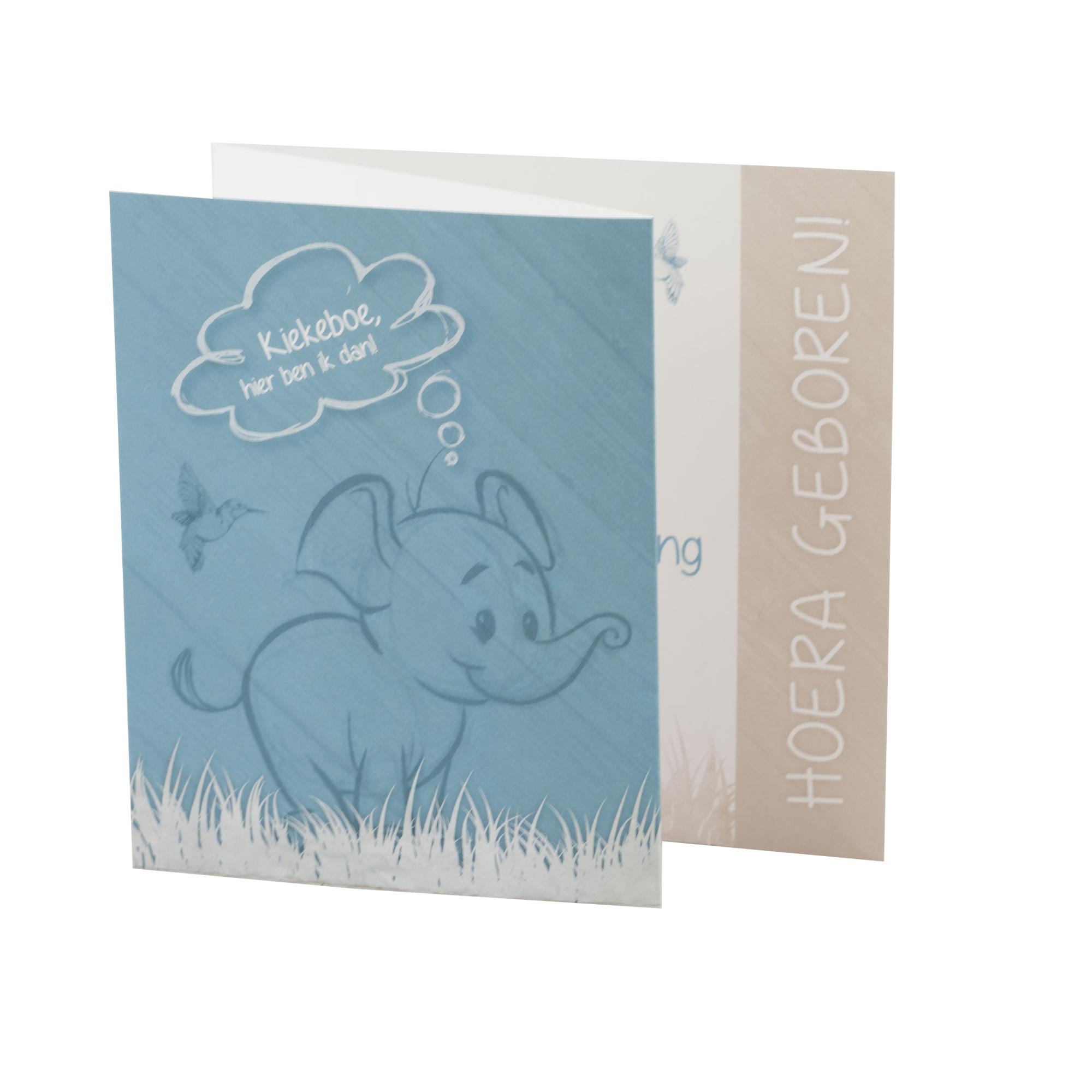 Getekend babykaartje met vrolijke olifant