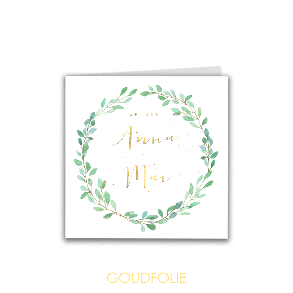 Goudfolie geboortekaartje blaadjes en gouden spetters