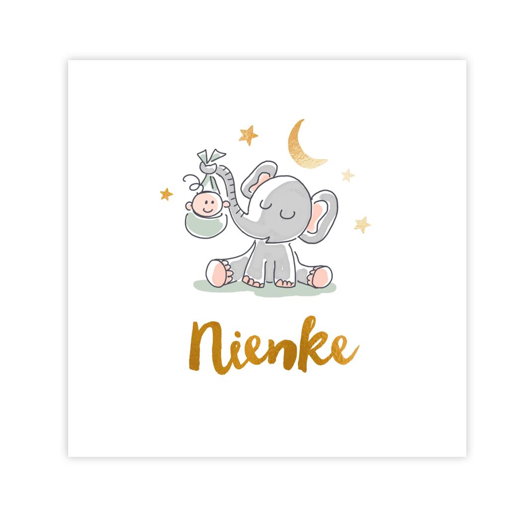 Goudfolie geboortekaartje meisje met olifant