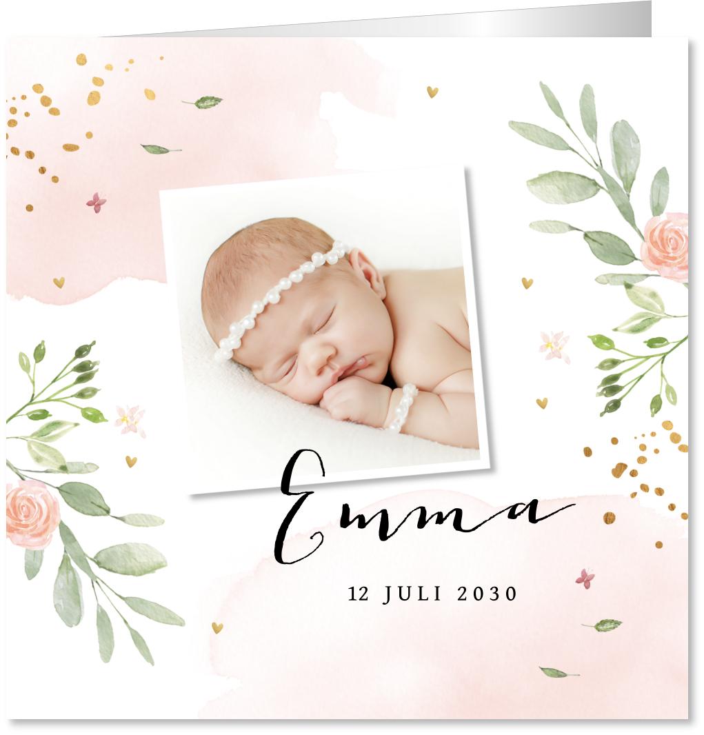 Geboortekaartje floral