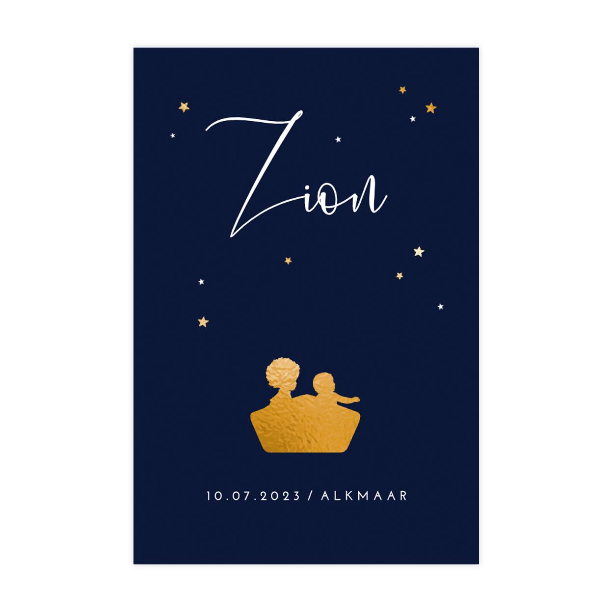 Hip goudfolie geboortekaartje met twee broertjes in bootje en sterren