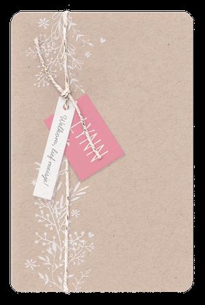 Lief geboortekaartje van kraft met bloemen I Belarto 718019
