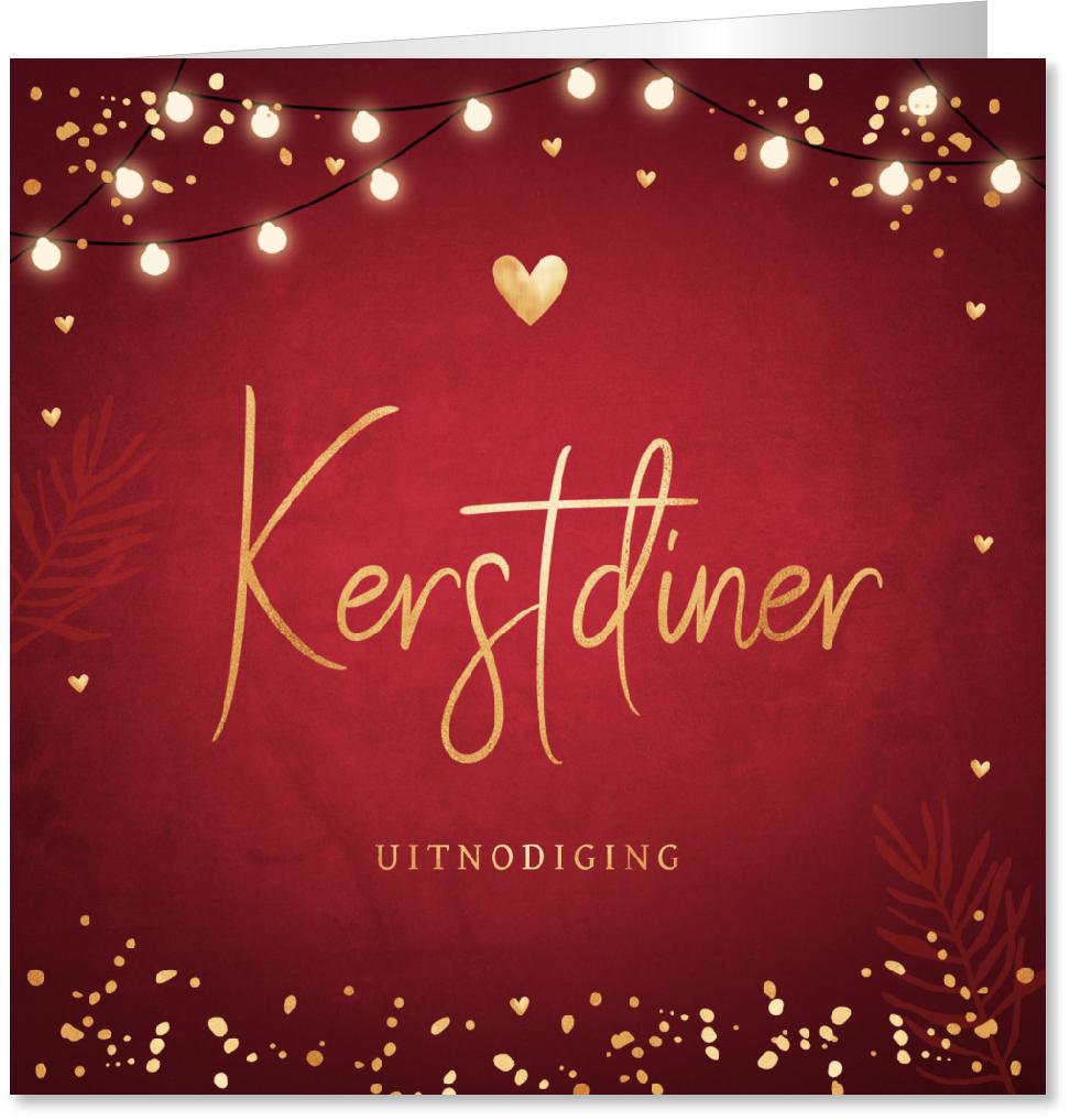Kerstdiner uitnodiging rood lampjes confetti
