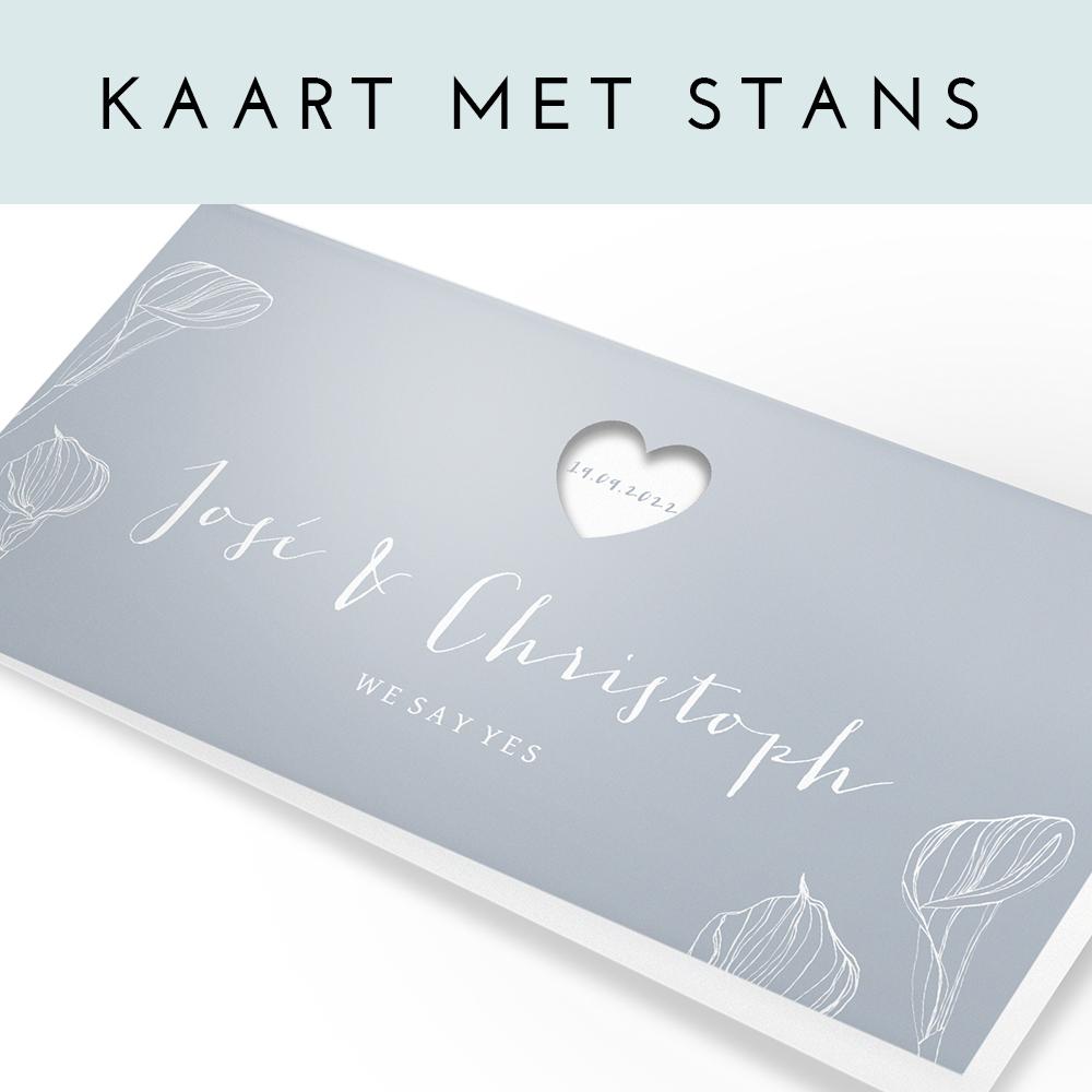 Uitsnede hartje op grijze panorama trouwkaart