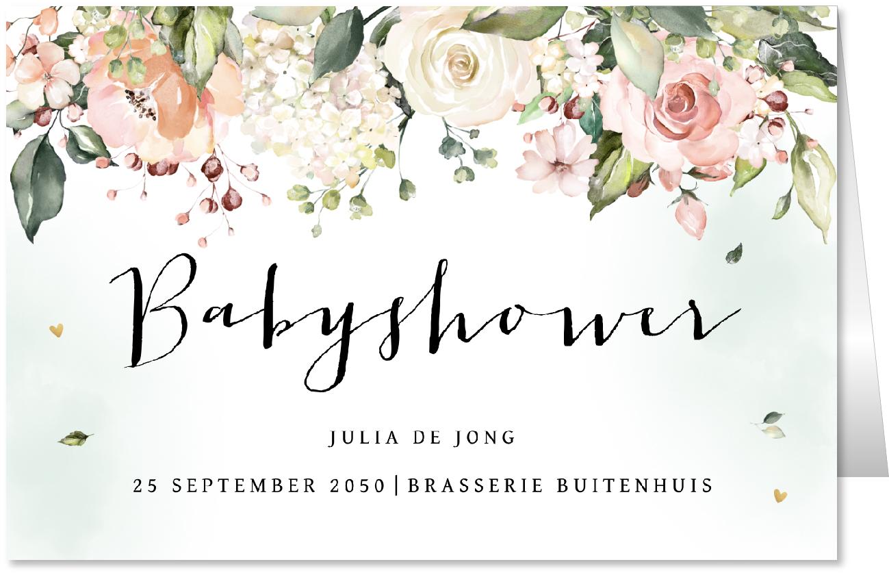 Babyshowerkaart floral waterverf