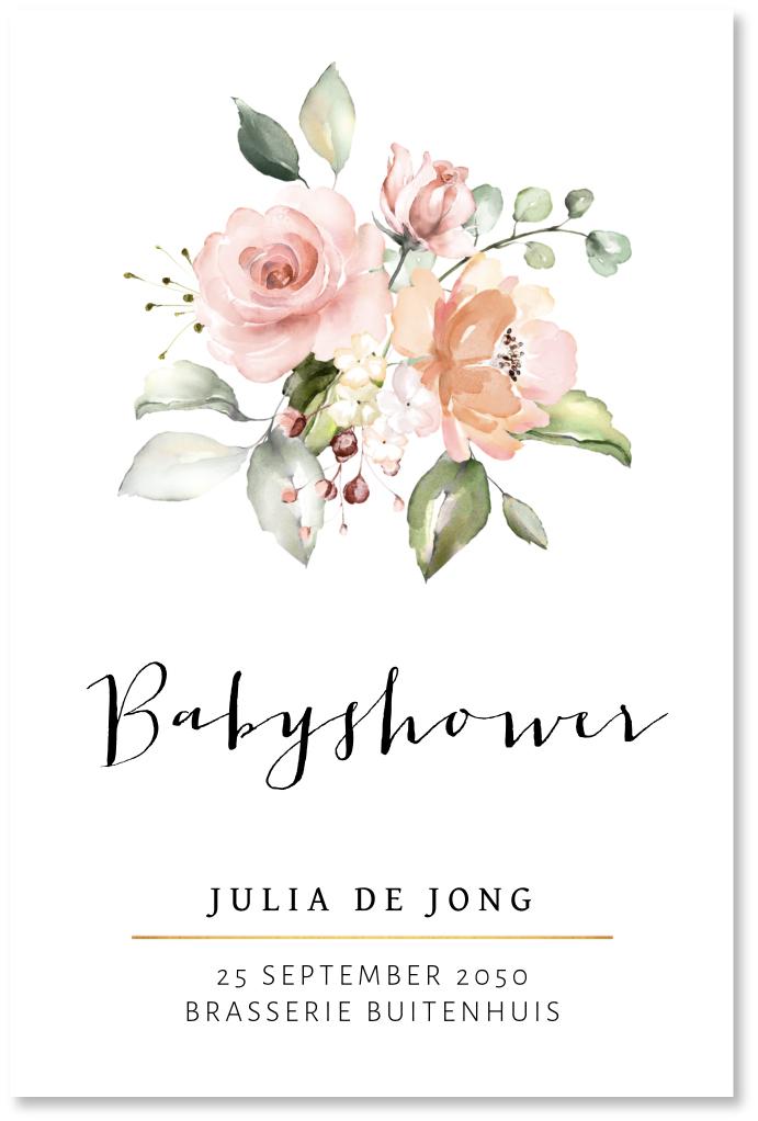Babyshowerkaart bloemen waterverf