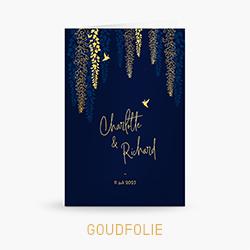 trouwkaart-goudfolie-blauw-blaadjes-vogels