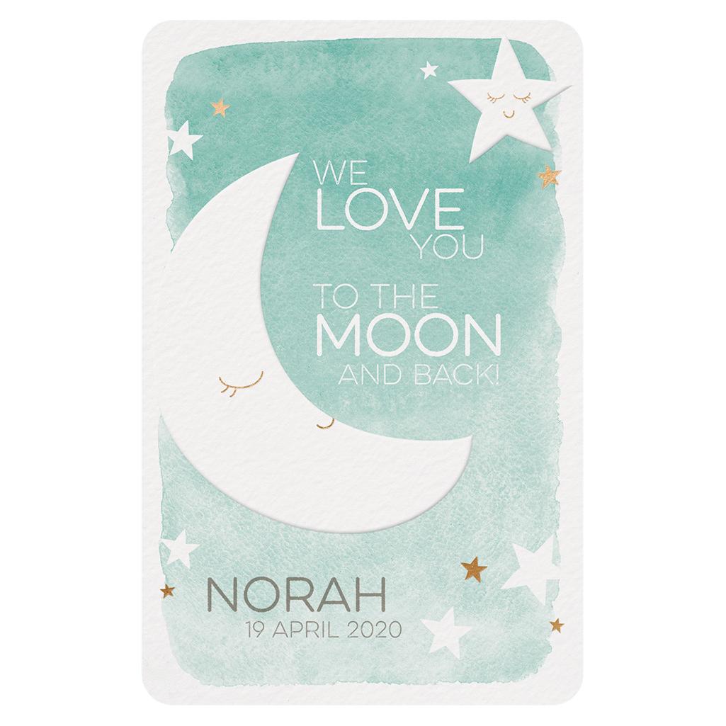 Romantische geboortekaart met maan en sterren 717047