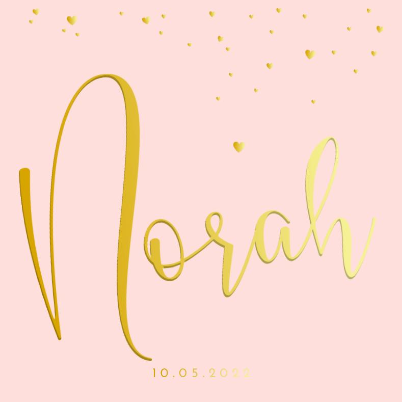Geboortekaartje meisje goudfolie naam met hartjesregen