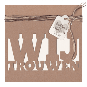 Hip trouwkaartje van kraftpapier I 727007