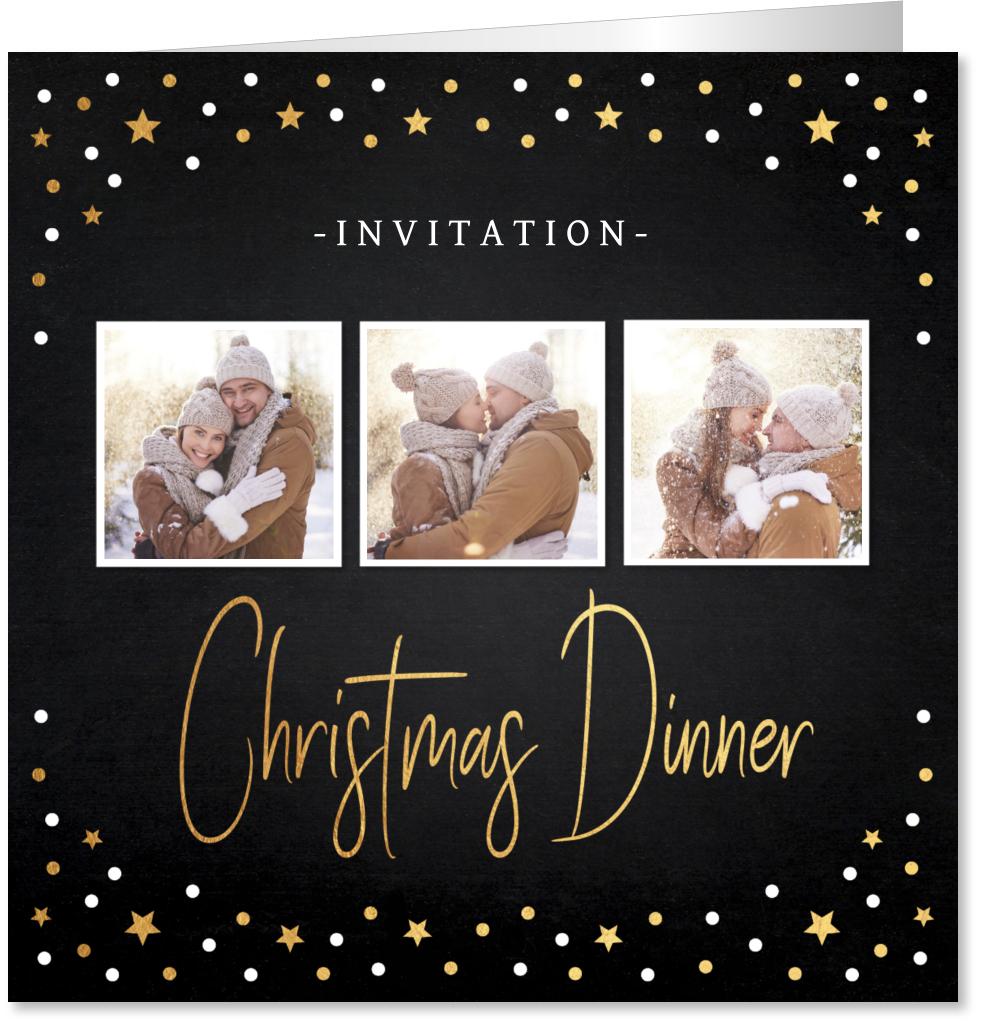 Kerstdiner uitnodiging fotocollage