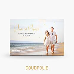 Trouwkaart met foto strand goudfolie