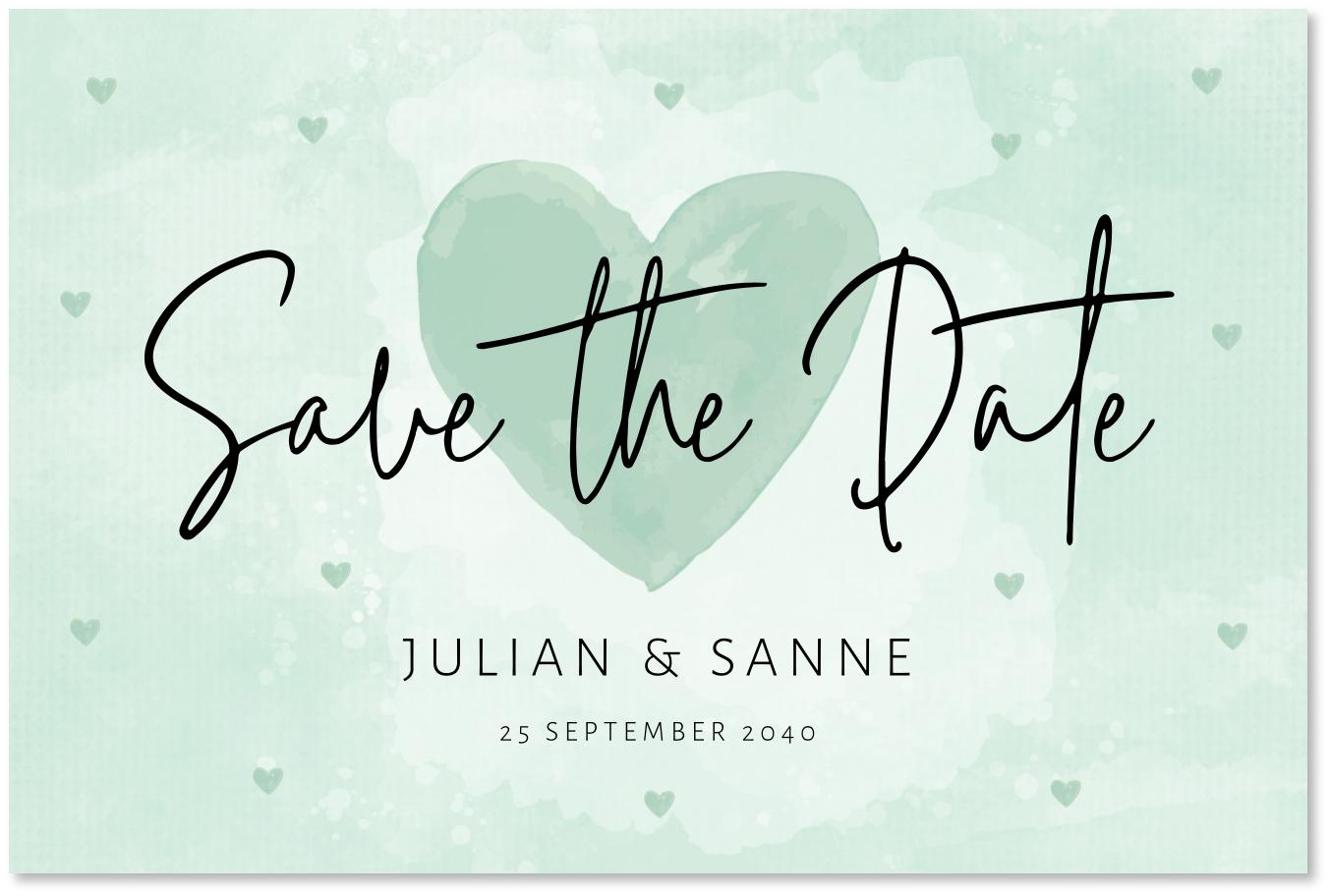 Save the Date kaart mintgroen