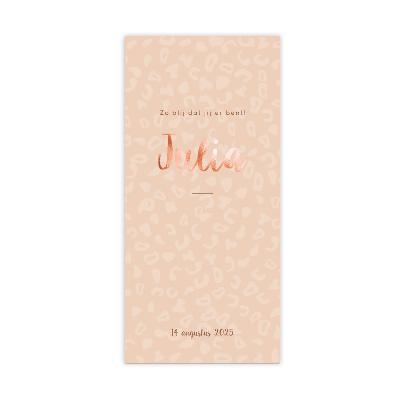 Trendy koperfolie geboortekaartje met peach kleurige panterprintje