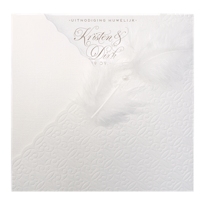 Klassieke trouwkaart van Belarto met veertje I 727028