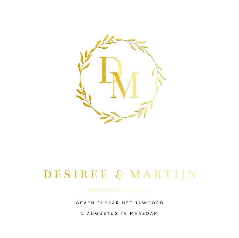 Klassieke trouwkaart met goudfolie monogram