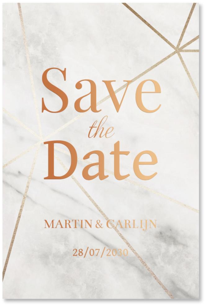 KOPERFOLIE Save the Date kaart marmer