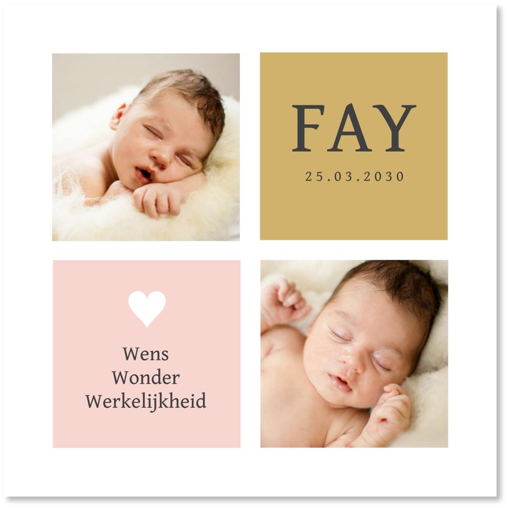 Geboortekaartje foto vakken