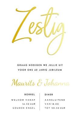 Goudfolie uitnodiging 60 jaar getrouwd typografie