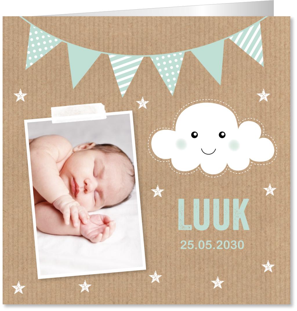 Geboortekaartje foto kraft wolk