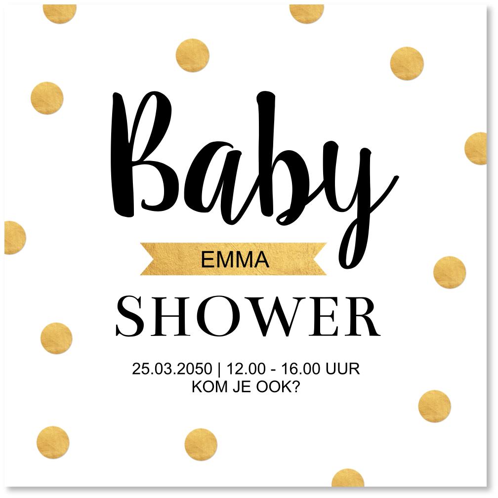 Uitnodiging babyshower confetti