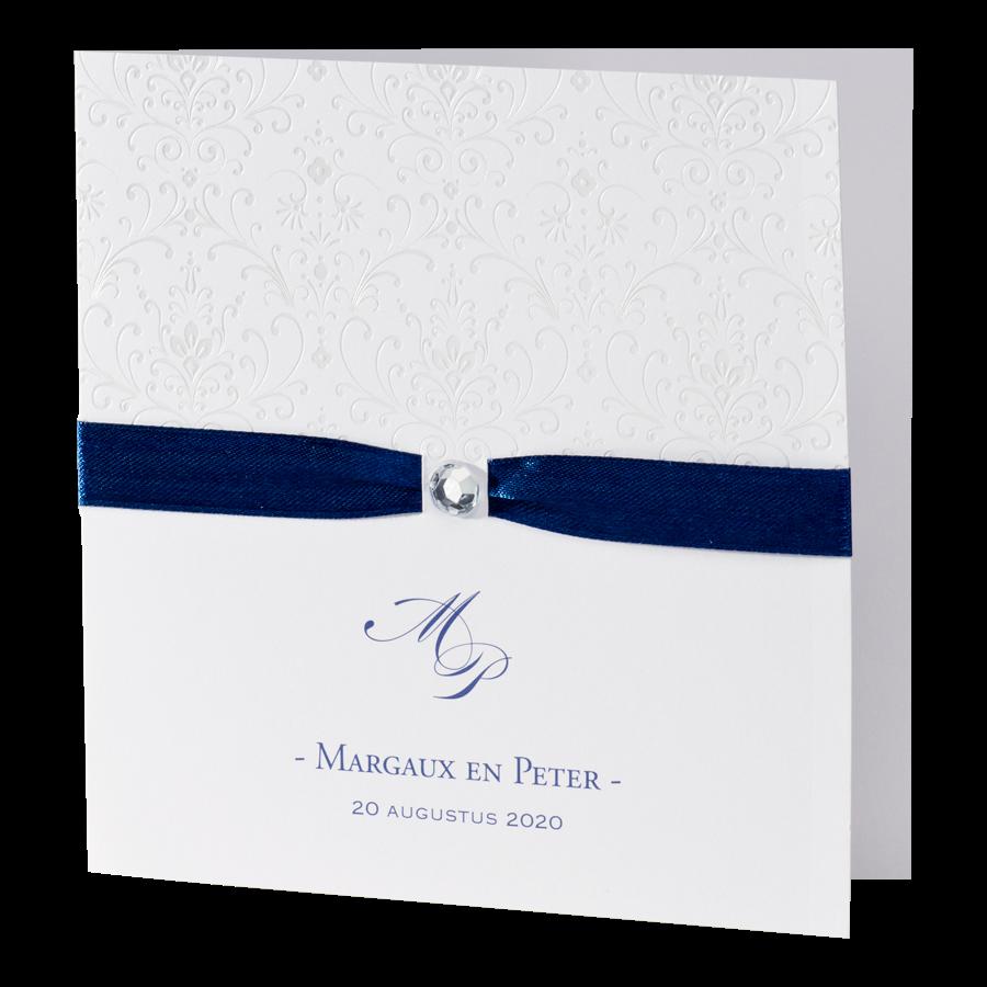 Chique trouwkaart Buromac met donkerblauw lint I 106004