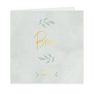 Hip goudfolie geboortekaartje voor jongen met groen waterverf en takje